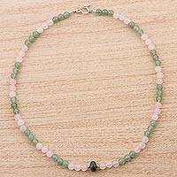 Rose quartz and aventurine pendant necklace, 'Sunset Valley' - Rose Quartz Aventurine and Chrysocolla Pendant Necklace