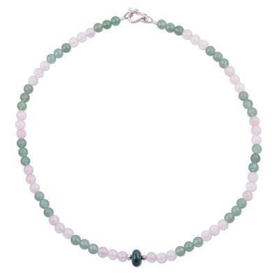 Rose quartz and aventurine pendant necklace, 'Sunset Valley' - Rose Quartz Aventurine and Chrysocolla Pendant Necklace