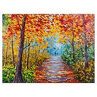 'Chromatic Path' - Signed Impressionist Painting of Forest Path from Peru