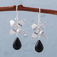 Obsidian flower dangle earrings, 'Floral Droplets' - Obsidian and Sterling Silver Peruvian Floral Dangle Earrings