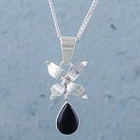 Obsidian flower pendant necklace, 'Poinsettia Night' - 923 Sterling Silver Flower and Obsidian Pendant Necklace