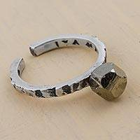 Pyrite mid finger ring, 'Passage of Time' - 925 Sterling Silver and Pyrite Mid Finger Ring from Peru