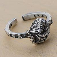 Sterling silver mid-finger ring, 'Ossified Fantasy' - Sterling Silver Mid Finger Ring Signed Peruvian Jewelry