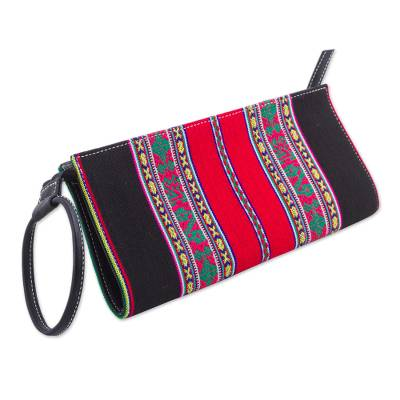 Cotton Denim Wristlet in Black and Red by Peruvian Artisans