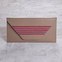 Faux leather clutch, 'Eco Colors' - Taupe Faux Leather Multi-purpose Clutch with Multicolor Trim