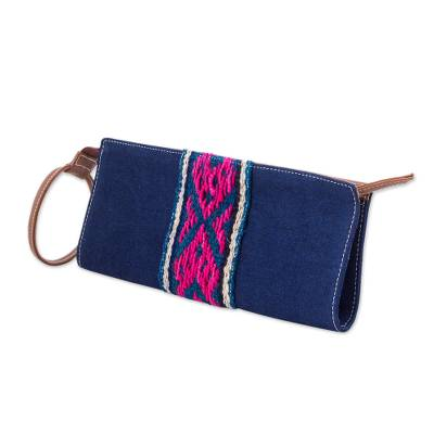 Cotton Denim Wristlet in Navy by Peruvian Artisans