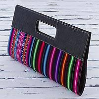 Cotton clutch, 'Nighttime Rainbow' - Multicolored Cotton Clutch Handbag by Peruvian Artisans