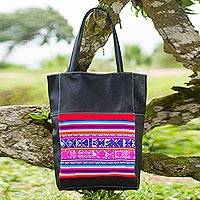 Cotton accent faux leather tote handbag, 'Cultural Rainbow' - Cotton Accent Faux Leather Handbag by Peruvian Artisans