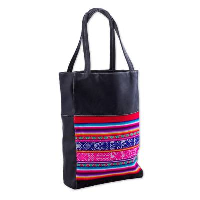 Novica Cotton accent faux leather tote handbag, Cultural Rainbow