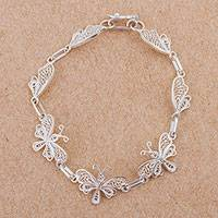 Sterling silver filigree link bracelet, 'Butterfly Valley'