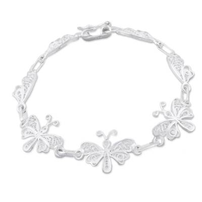 Sterling silver filigree link bracelet, 'Butterfly Valley' - Sterling Silver Filigree Butterfly Link Bracelet from Peru