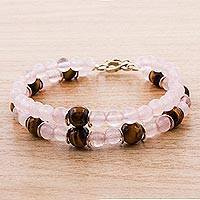 Tiger's eye and rose quartz beaded bracelet, 'Rosy Seduction' - Tiger's Eye and Rose Quartz Beaded Bracelet from Peru
