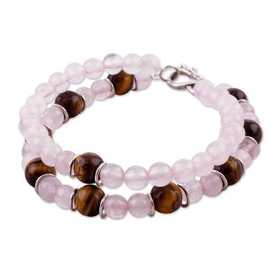 Tiger's eye and rose quartz beaded bracelet, 'Rosy Seduction' - Tiger's Eye and Rose Quartz Beaded Bracelet from Peru