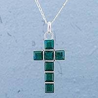 Chrysocolla pendant necklace, 'Lakeside Cross' - Chrysocolla and Sterling Silver Cross Pendant Necklace