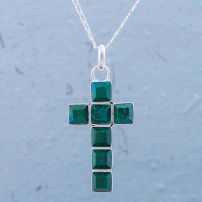 Chrysocolla pendant necklace, 'Lakeside Cross' - Chrysocolla and Sterling Silver Cross Pendant Necklace
