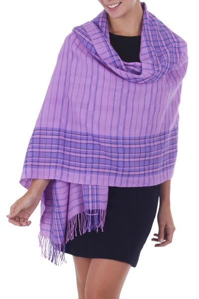 100% baby alpaca shawl, 'Orchid Bliss' - Light Purple Hand Woven Peruvian Baby Alpaca Shawl