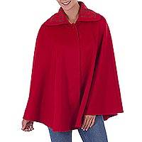 Alpaca blend cape, 'Attractive Temptation in Ruby' - Fair Trade Alpaca Blend Long Lined Ruby Red Cape from Peru