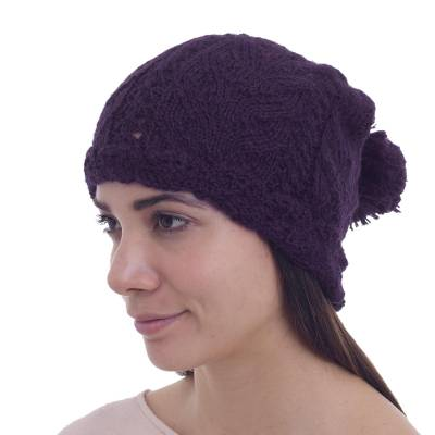 100% Alpaca Knit Patterned Hat in Eggplant from Peru