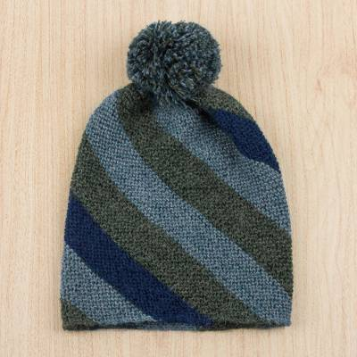 100% alpaca hat, 'Mountainous Stripes' - 100% Alpaca Wool Striped Hat in Green and Blue from Peru