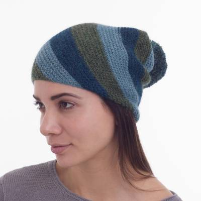 100% Alpaca Wool Striped Hat in Green and Blue from Peru