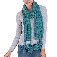 100% alpaca scarf, 'Rainy Night in Teal' - 100% Alpaca Handwoven Scarf with Tassels in Teal from Peru