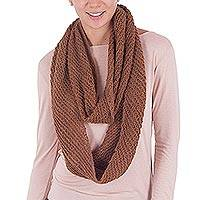 100% alpaca infinity scarf, 'Inspired Andes' - 100% Alpaca Knit Infinity Scarf in Sepia from Peru
