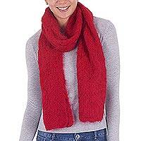 100% alpaca scarf, 'Nurturing Passion' - 100% Alpaca Wool Knit Wrap Scarf in Tomato from Peru