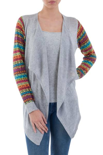 Cotton blend cardigan, 'Market Walk in Ash Grey' - Solid Grey Open Cardigan with Multicolored Patterned Sleeves