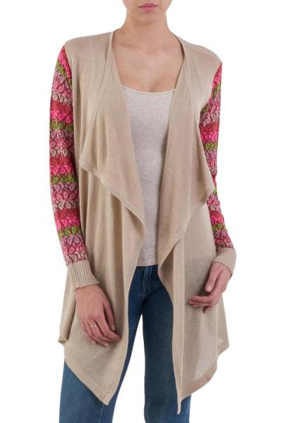 Cotton blend cardigan, 'Garden in Pale Beige' - Beige Open Front Cardigan with Multicolor Floral Sleeves