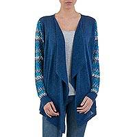 Cotton blend kimono-style cardigan, 'Garden in Blue' - Peruvian Open Front Solid Blue Cardigan with Floral Sleeves