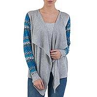 Cotton blend cardigan, 'Garden in Ash Grey' - Open Front Solid Grey Cardigan with Blue Floral Sleeves
