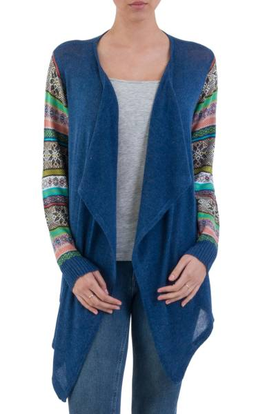 Cotton blend cardigan, Blue Southern Star