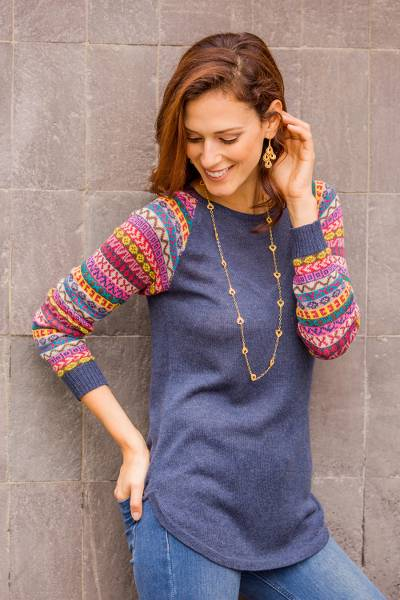 ffba402dba8 Azure Blue Tunic Sweater with Multi Color Patterned Sleeves,