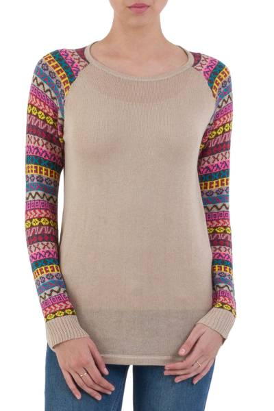 Cotton blend sweater, 'Andean Walk in Pale Beige' - Pale Beige Tunic Sweater with Multi Color Patterned Sleeves