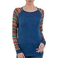 Cotton blend sweater, 'Cusco Market in Blue' - Blue Tunic Sweater with Multi Color Patterned Sleeves