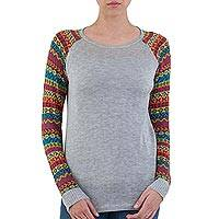 Cotton blend sweater, 'Cusco Market in Ash Grey'
