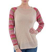 Cotton blend sweater, 'Garden Vine in Pale Beige'