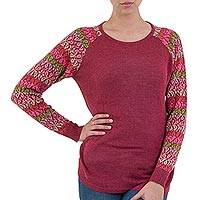 Cotton blend sweater, 'Garden Vine in Wine'
