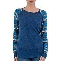 Cotton blend sweater, 'Garden Vine in Blue' - Tunic Sweater in Blue with Multi Color Floral Sleeves