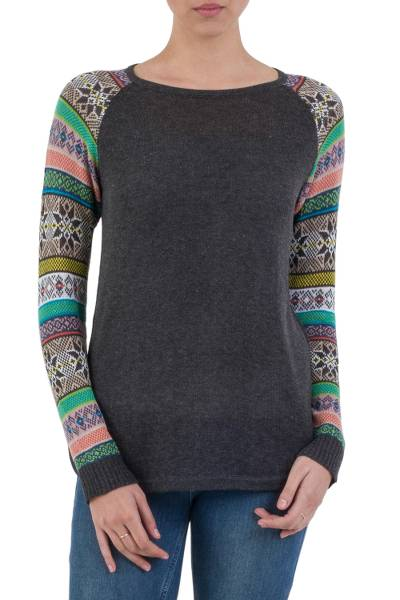 Cotton blend sweater, 'Andean Star in Charcoal' - Dark Grey Long Sweater with Star Pattern Multicolor Sleeves