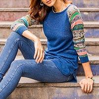Cotton blend sweater, 'Andean Star in Blue'