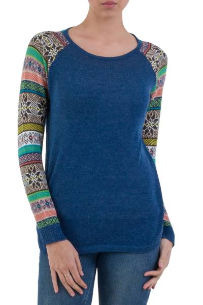 Cotton blend sweater, 'Andean Star in Blue' - Indigo Blue Sweater with Star Pattern Multicolor Sleeves