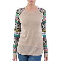 Cotton blend sweater, 'Andean Star in Pale Beige' - Pale Beige Sweater with Star Pattern Multicolor Sleeves