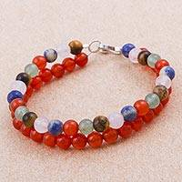 Multi-gemstone beaded bracelet, 'Enchanting Tropics' - Multi-Gemstone Multi-Strand Beaded Bracelet from Peru
