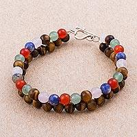 Multi-gemstone beaded bracelet, 'Colorful Tropics' - Colorful Multi-Gemstone Multi-Strand Beaded Bracelet