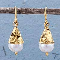 Gold plated cultured pearl dangle earrings, 'Hidden Desire' - Gold Plated Cultured Pearl Conical Dangle Earrings from Peru