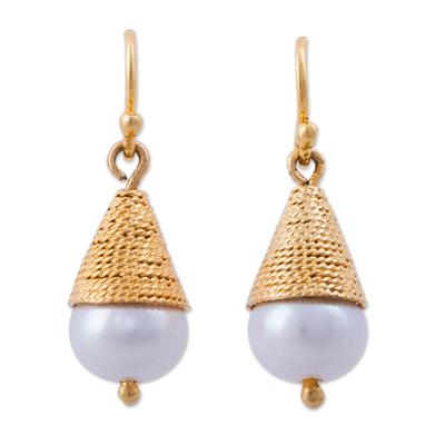 Gold plated cultured pearl dangle earrings, 'Hidden Desire' - Gold Plated Cultured Pearl Conical Dangle Earrings from Peru