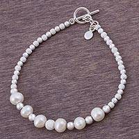Cultured pearl beaded bracelet, 'Brilliant Enchantment' - Cultured Pearl and Sterling Silver Link Bracelet from Peru