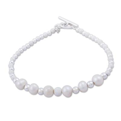 Cultured Pearl and Sterling Silver Link Bracelet from Peru