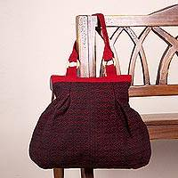 Wool shoulder bag, 'Cherry Coal' - Hand Woven Wool Shoulder Bag with Red Flowers over Black